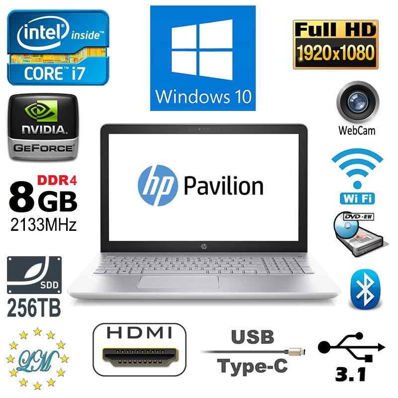 New Full HD HP Pavilion 15-CC076SA Intel i7 8GB 256GB SSD HDMI DVDRW