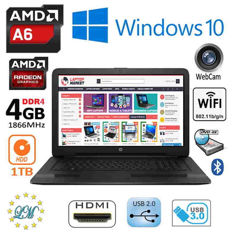 New HP 17 AMD 2 90GHz Radeon R4 17 3 HD+ Huge 1TB DVD-RW HDMI Win10