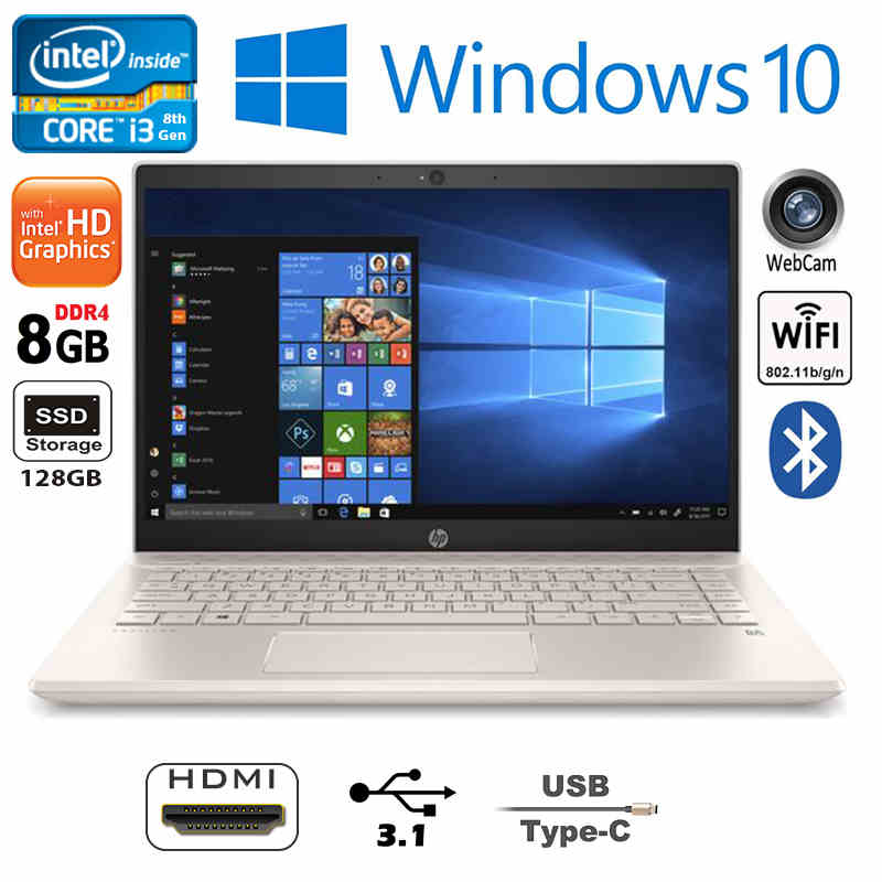 New Speedy Slim HP 14 White Rose Gold Latest i3 128GB SSD 8GB 11H Battery