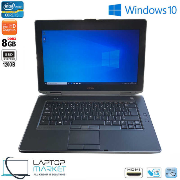 "Dell Latitude E6430, 14.0"" HD Metallic Laptop, Intel® Core i5 Processor, 8GB RAM Memory, 120GB Solid State Drive"