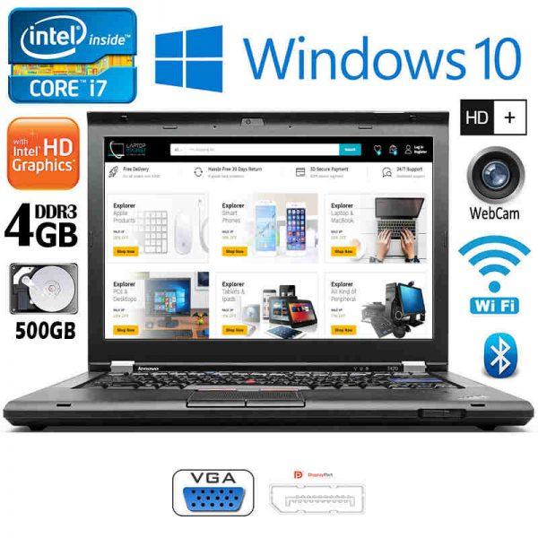 Lenovo ThinkPad T420 Intel i7 4GB RAM 500GB HDD FireWire VGA Win10 Black