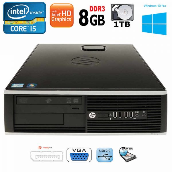 HP Compaq 8200 Elite SFF Desktop Intel i5 8GB RAM 1TB HDD DVD-RW Win10