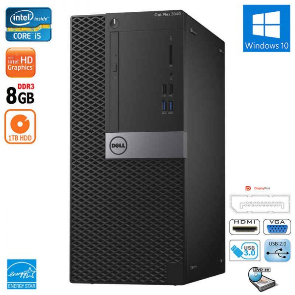 Dell Optiplex 3040 MT Intel i5 Quad Core 8GB RAM 1TB HDD DVD-RW HDMI