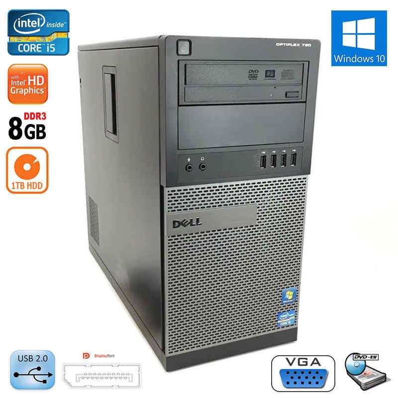 Dell Optiplex 790 Tower PC Desktop Core i5 3 4Ghz Quad Core 8GB Ram 1TB HDD  DVD W10
