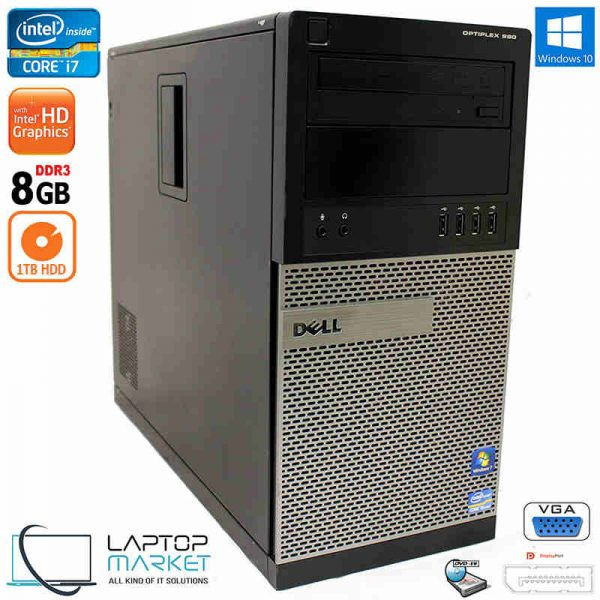 Dell Optiplex 990 Tower Desktop PC Intel i7 8GB RAM 1TB HDD DVD-RW Win10