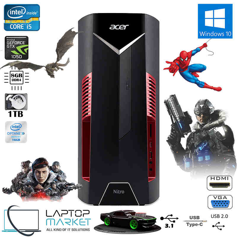 New Gaming PC Acer Nitro N50-600 Core i5 8GB RAM 16GB Optane 1TB HDD  GeForce GTX
