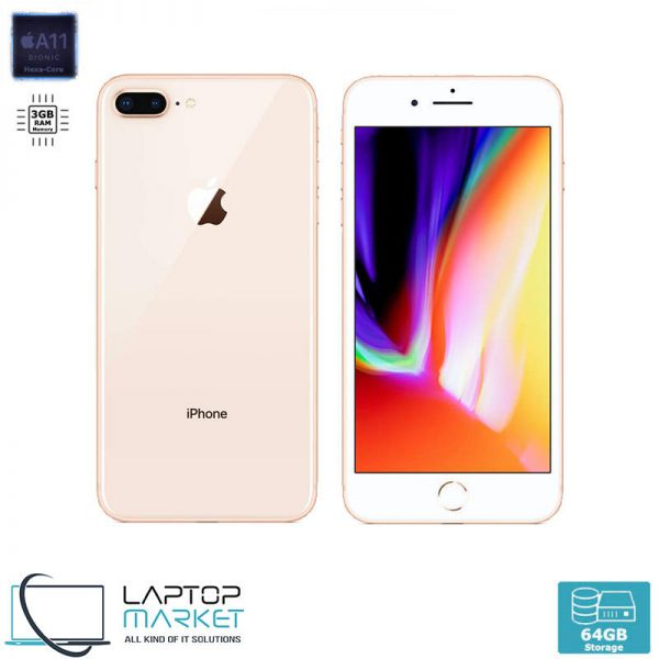 Apple iPhone 8 Plus 64GB Gold, 3GB RAM, Apple A11 Bionic Chip with Hexa-Core Processor, Dual 12MP Wide and Telephoto Cameras