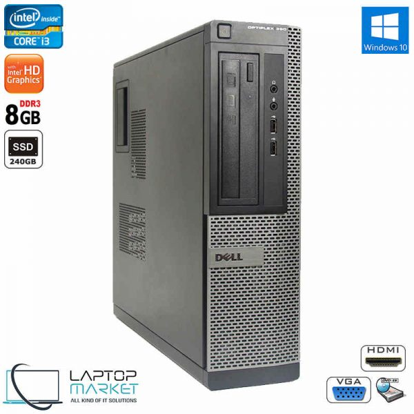 Dell Optiplex 390 DT, Desktop PC, Intel Core i3 Processor, 8GB RAM, 240GB SSD, DVD-RW, VGA Port, HDMI, Windows 10 Pro