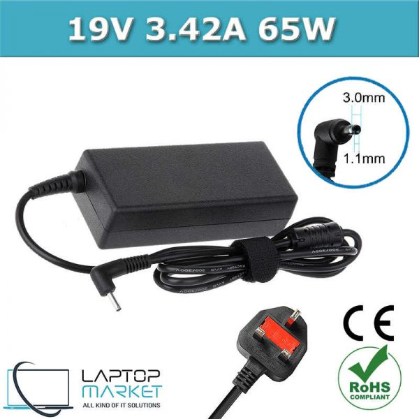 Laptop Charger Adapter 19V 3.42A 65W With 3.0mm x 1.0mm Charging Pin For Acer Aspire Chromebook Iconia Travelmate Series