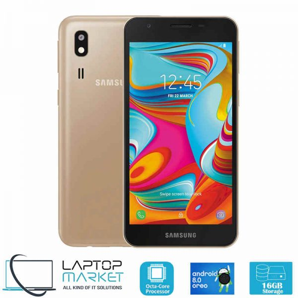 New Unlocked Samsung A2 Core SM-A260G/DS, Gold Smartphone, Octa-Core Processor, 1GB RAM, 16GB Storage, 5MP Camera,