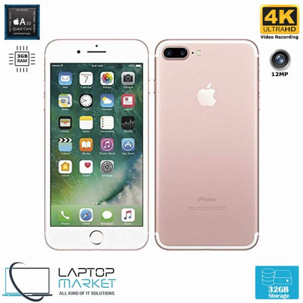 Apple iPhone 7 Plus Unlocked, Quad-Core Processor, 32GB Storage, 3GB RAM, 12MP Primary and 7MP Secondary Camera