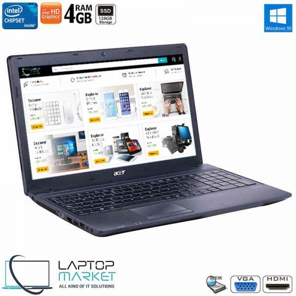 "Acer TravelMate 5335, 15.6"" HD Black Laptop, Intel® Celeron® 925 Processor, 4GB RAM Memory, 128GB Solid State Drive"