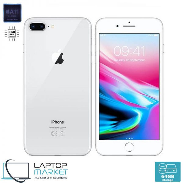 Apple iPhone 8 Plus 64GB White, 3GB RAM, Apple A11 Bionic Chip with Hexa-Core Processor, Dual 12MP Wide and Telephoto Cameras