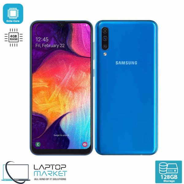 Brand New Boxed Samsung Galaxy A50 SM-A505/DS, Blue Smartphone, Octa-Core Processor, 4GB RAM, 128GB Storage, Triple 25MP Camera