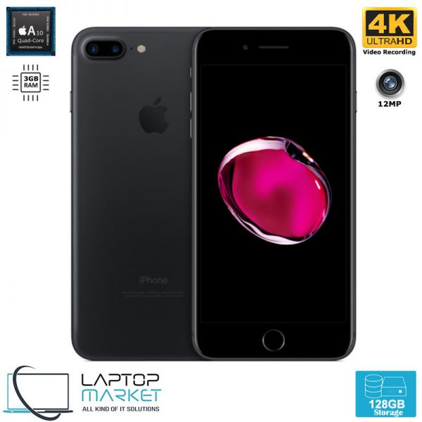 Apple iPhone 7 Plus, Unlocked Black Smartphone, Quad Core Processor, 128GB Storage, 3GB RAM, 12MP