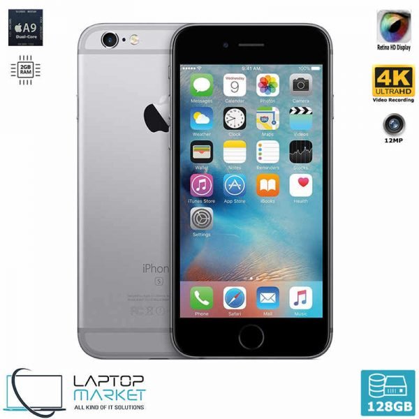Apple iPhone 6s 128GB Gray, 2GB RAM, Apple A9 Chip with Dual-Core Processor, 12MP Primary