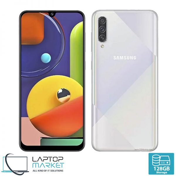 Brand New Boxed Samsung Galaxy A50s SM-A507FN/DS, Prism Crush White Smartphone, Octa-Core Processor, 4GB RAM, 128GB Storage, Triple 48MP Camera
