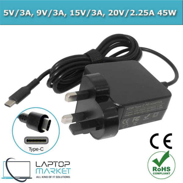 New Universal Charger Type C PD Adapter - 5V 9V 15V 3A, 20V 2.25A 45W Black