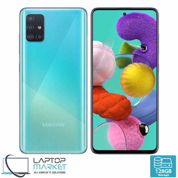 Brand New Sealed Samsung Galaxy A51 SM-A515F/DSN, Unlocked Dual SIM, Prism Crush Blue Smartphone, Octa-Core Processor, 6GB RAM, 128GB Storage, Quad 48MP Camera